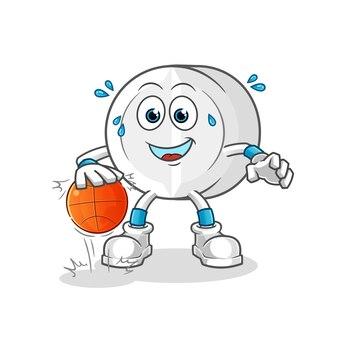 Mascote dos desenhos animados do personagem do basquete dribla remédio