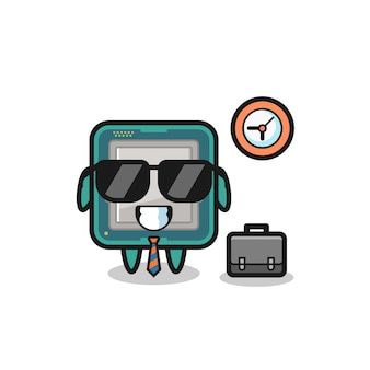 Mascote dos desenhos animados do processador como empresário, design de estilo fofo para camiseta, adesivo, elemento de logotipo