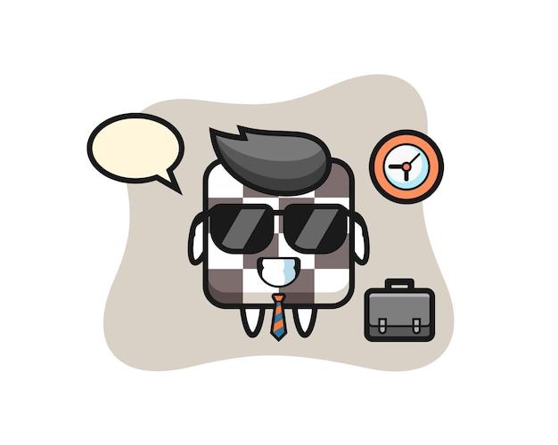Mascote dos desenhos animados do tabuleiro de xadrez como empresário, design de estilo fofo para camiseta, adesivo, elemento de logotipo