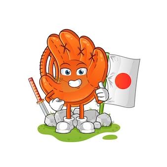 Mascote dos desenhos animados japoneses de luva de beisebol