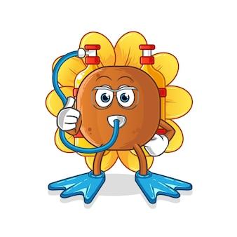 Mascote dos mergulhadores de flores do sol