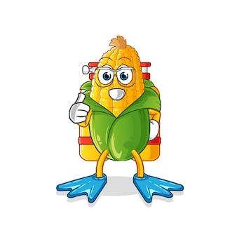 Mascote dos mergulhadores de milho. desenho animado
