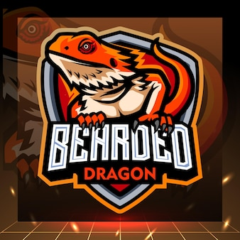 Mascote dragão barbudo. design do logotipo esport