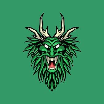 Mascote dragão verde