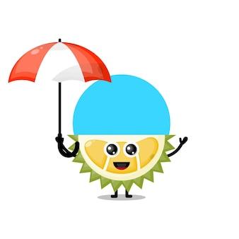 Mascote durian com guarda-chuva fofo