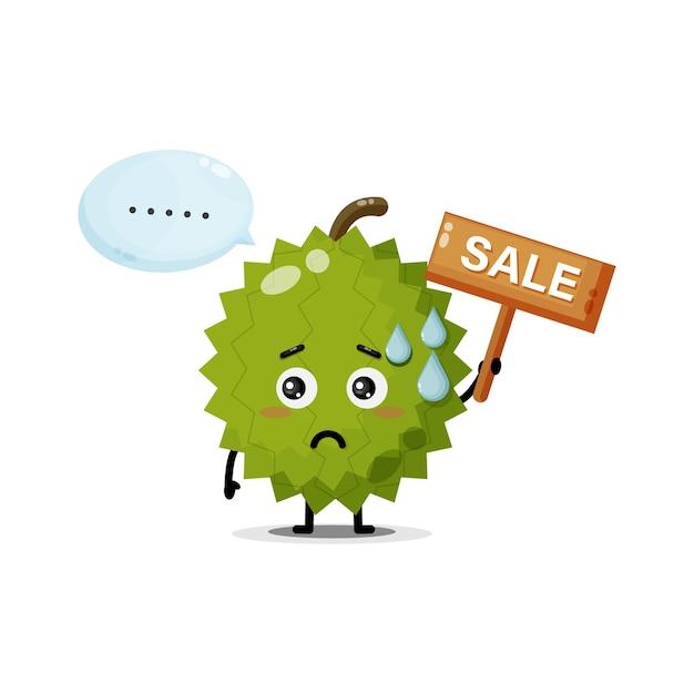 Mascote durian fofo com o sinal de vendas