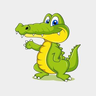Mascote engraçado de crocodilo