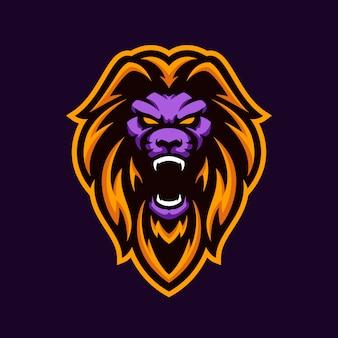 Mascote esport da ilustração do leão selvagem