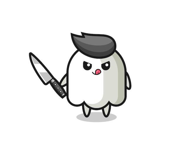 Mascote fantasma fofo como um psicopata segurando uma faca, design de estilo fofo para camiseta, adesivo, elemento de logotipo