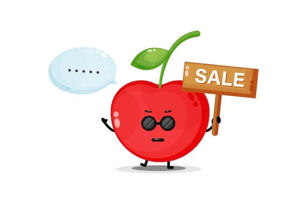 Mascote fofa cereja com placa de venda