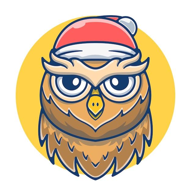 Mascote fofa coruja com chapéu de papai noel