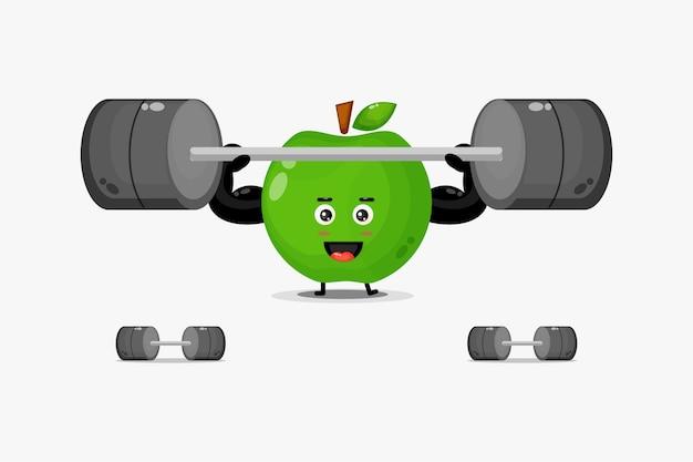 Mascote fofa de maçã verde levantando uma barra