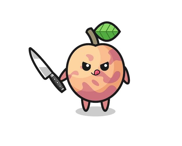 Mascote fofinho da fruta pluot como um psicopata segurando uma faca, design de estilo fofo para camiseta, adesivo, elemento de logotipo