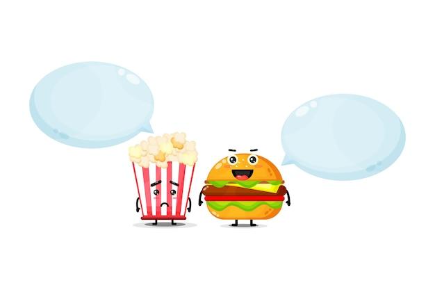 Mascote fofinho de pipoca e hambúrguer com expressões de alegria e tristeza