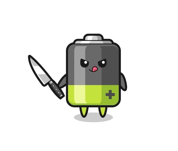 Mascote fofo da bateria como um psicopata segurando uma faca, design de estilo fofo para camiseta, adesivo, elemento de logotipo