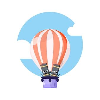 Mascote fofo da bateria do balão de ar quente