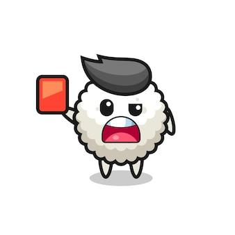 Mascote fofo da bola de arroz como árbitro dando um cartão vermelho, design de estilo fofo para camiseta, adesivo, elemento de logotipo