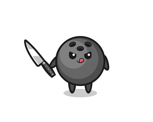 Mascote fofo da bola de boliche como um psicopata segurando uma faca, design de estilo fofo para camiseta, adesivo, elemento de logotipo