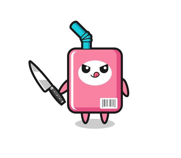 Mascote fofo da caixa de leite como um psicopata segurando uma faca, design de estilo fofo para camiseta, adesivo, elemento de logotipo