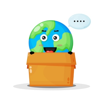 Mascote fofo da terra na caixa