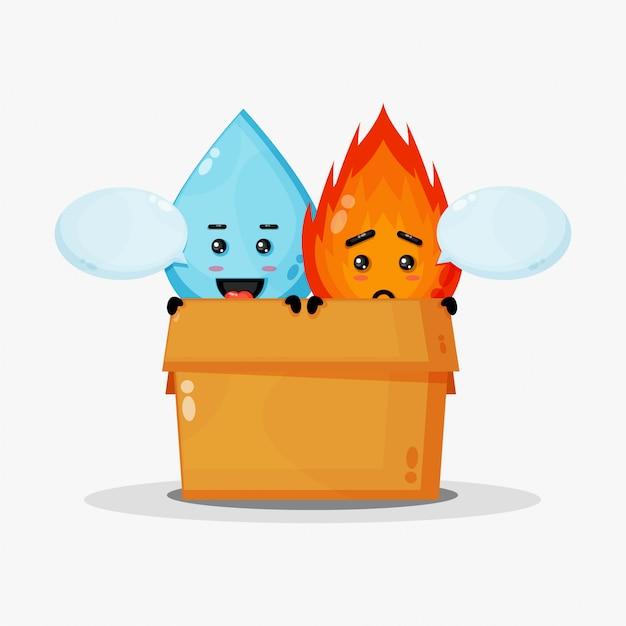 Mascote fofo de água e fogo na caixa
