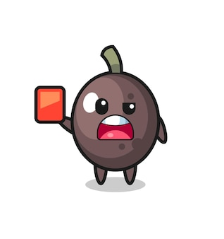 Mascote fofo de azeitona preta como árbitro dando um cartão vermelho, design de estilo fofo para camiseta, adesivo, elemento de logotipo