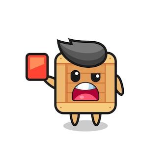 Mascote fofo de caixa de madeira como árbitro dando um cartão vermelho, design de estilo fofo para camiseta, adesivo, elemento de logotipo