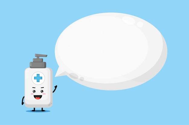Mascote fofo de desinfetante para as mãos com discurso de bolha