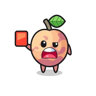 Mascote fofo de frutas pluot como árbitro dando um cartão vermelho, design de estilo fofo para camiseta, adesivo, elemento de logotipo