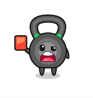 Mascote fofo de kettleball como árbitro dando um cartão vermelho, design de estilo fofo para camiseta, adesivo, elemento de logotipo