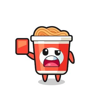 Mascote fofo de macarrão instantâneo como árbitro dando um cartão vermelho, design de estilo fofo para camiseta, adesivo, elemento de logotipo
