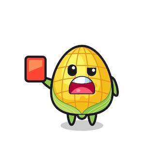 Mascote fofo de milho como árbitro dando um cartão vermelho, design de estilo fofo para camiseta, adesivo, elemento de logotipo