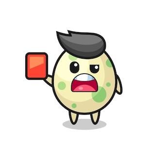 Mascote fofo de ovo manchado como árbitro dando um cartão vermelho, design de estilo fofo para camiseta, adesivo, elemento de logotipo