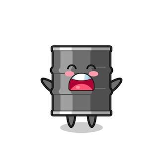 Mascote fofo de tambor de óleo com expressão de bocejo e design fofo