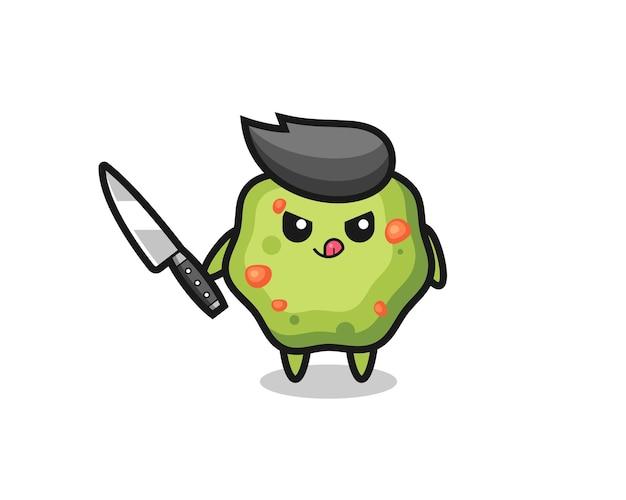 Mascote fofo de vômito como um psicopata segurando uma faca, design de estilo fofo para camiseta, adesivo, elemento de logotipo