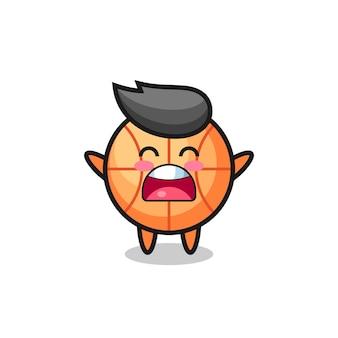 Mascote fofo do basquete com uma expressão de bocejo, design de estilo fofo para camiseta, adesivo, elemento de logotipo
