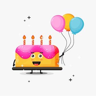 Mascote fofo do bolo de aniversário carregando balões