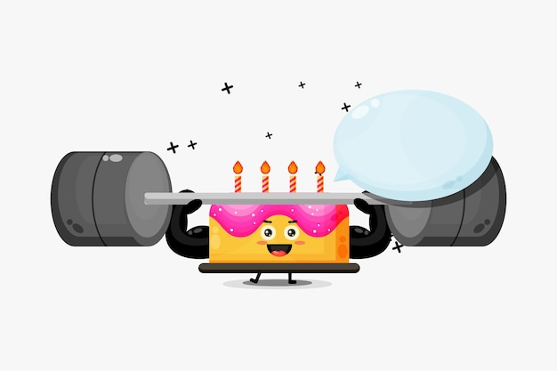 Mascote fofo do bolo de aniversário levantando uma barra