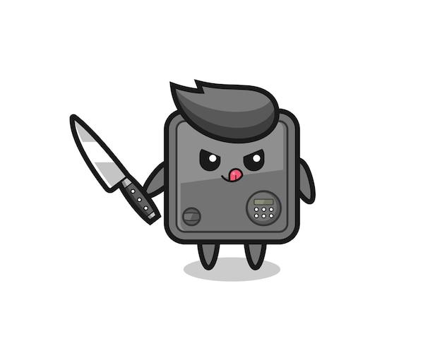 Mascote fofo do cofre como um psicopata segurando uma faca, design de estilo fofo para camiseta, adesivo, elemento de logotipo