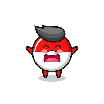 Mascote fofo do emblema da bandeira da indonésia com uma expressão de bocejo, design de estilo fofo para camiseta, adesivo, elemento de logotipo