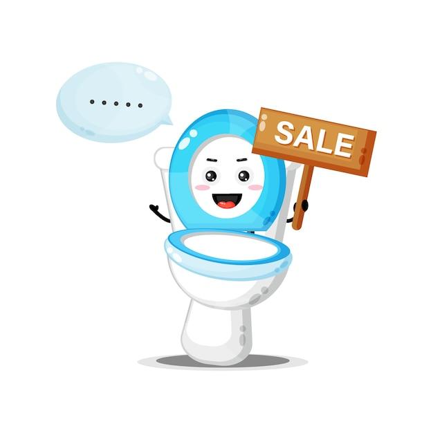 Mascote fofo do vaso sanitário com o sinal de venda