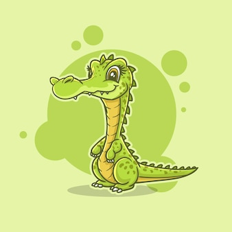 Mascote fofo ilustração personagem crocodilo, lagarto, jacaré, mascote dos desenhos animados