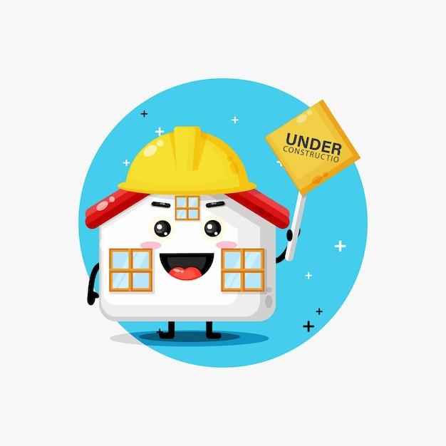 Mascote fofo trabalhando na construção