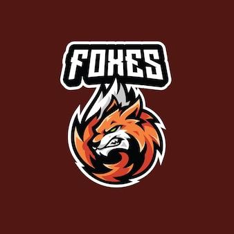 Mascote fox head tail fur para esport gaming logo design