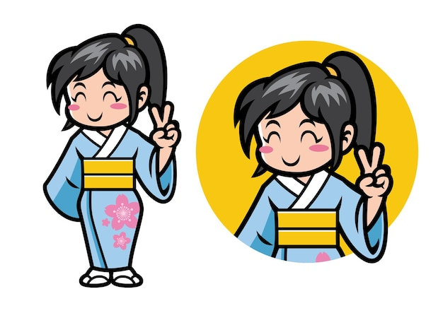 Mascote garota japonesa chibi em conjunto
