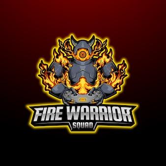 Mascote guerreiro do fogo esport