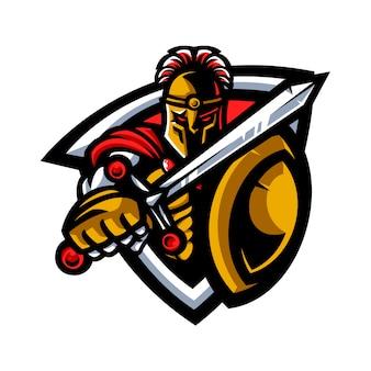 Mascote guerreiro espartano