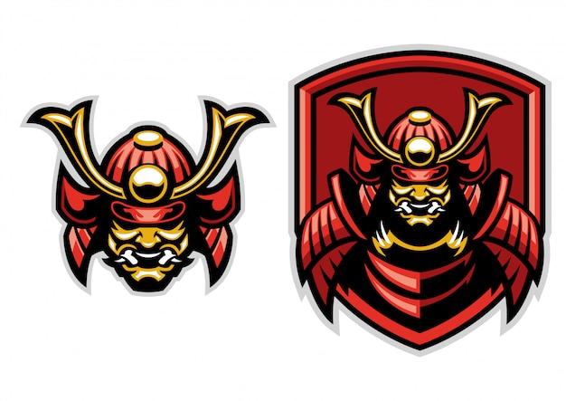 Mascote guerreiro samurai