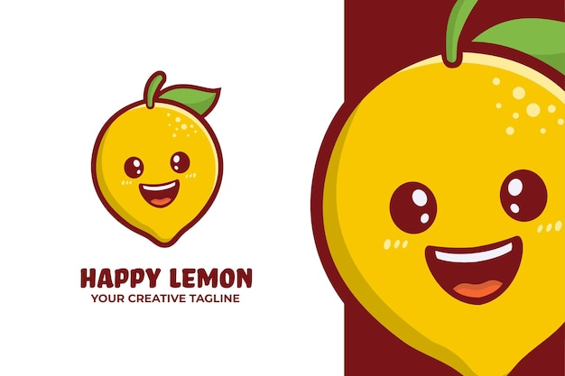 Mascote happy fresh lemon logo Vetor Premium