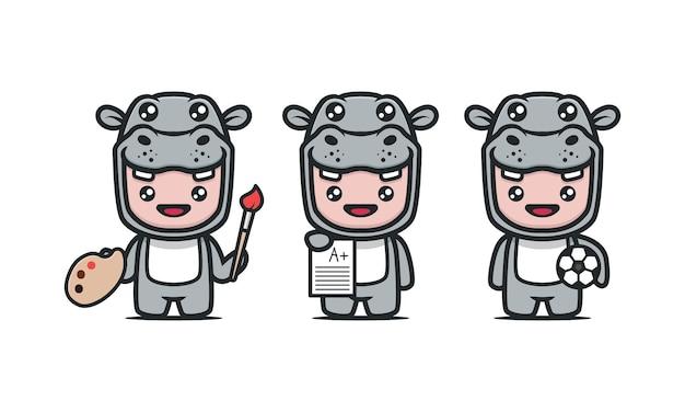 Mascote hipopótamo fofo com ilustração de design de tema de estudante de escola com fundo azul